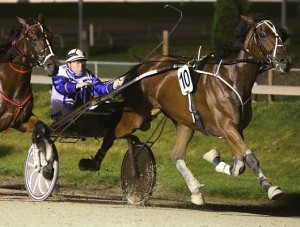 Master Lavros, in action winning the Group 1 Fred Shaw Memorial NZ Trotting Championship at Addington in April, 2014.